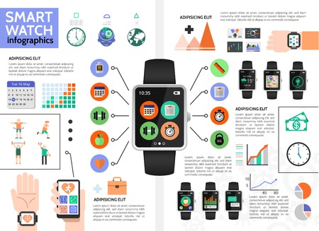Flat smart watch infographic concept with fitness navigation music call chat calendar applications diagrams and sport people vector illustration