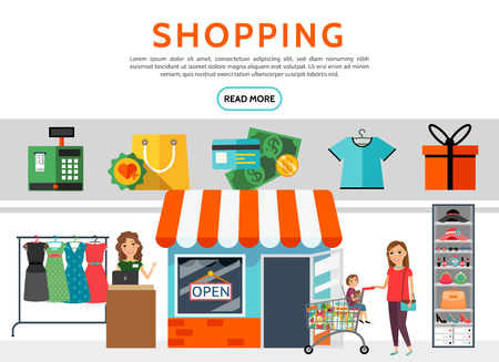 Flat shopping elements set with cash register bag money payment card shirt present box store seller woman buying products with girl isolated vector illustration