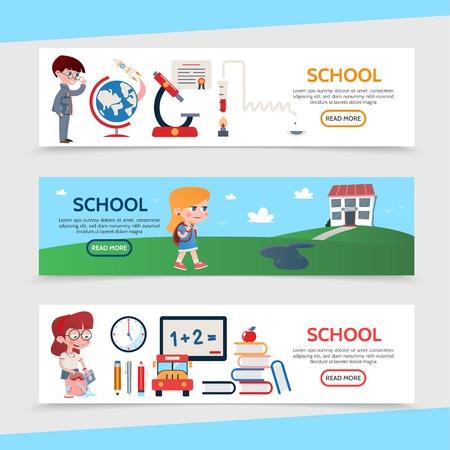 Flat education horizontal banners with pupils school building globe rocket microscope board clock pencil marker pen bus books apple certificate vector illustration