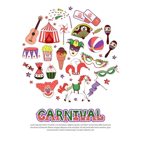 Flat carnival circus concept with tent arena sweet products masquerade masks maracas clowns horse flag guitar tickets ball magic wand isolated vector illustration Illustration