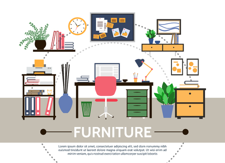 Flat designer workspace round composition with furniture desk stickers shelves printer computer lamp pictures flowers folders for documents vector illustration