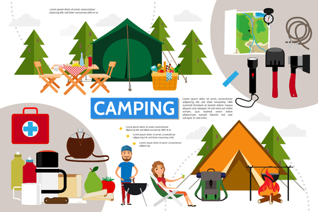 Flat camping infographic concept with tent flashlight axe shovel map compass backpack tourists medical kit table chairs basket of products vector illustration Illustration