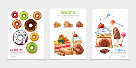 Cartoon sweets posters with donuts buscuit cakes lollipop ice cream chocolate bar cookie colorful candies isolated vector illustration