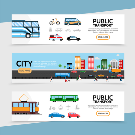 Flat public transport horizontal banners with bicycle van ambulance police car bus tram and urban road traffic vector illustration