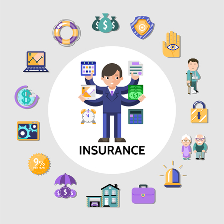 Flat insurance round concept with manager laptop money save shield siren pensioners disabled lock building briefcase isolated vector illustration