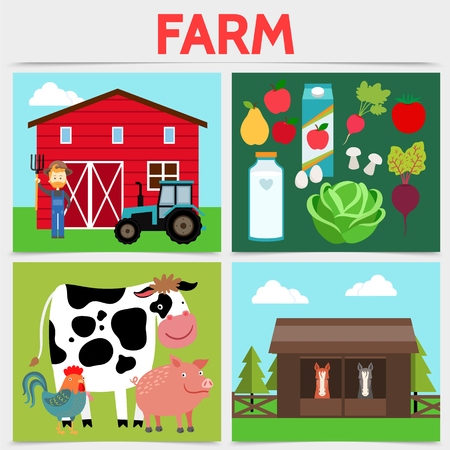 Flat colorful farming square concept with farmer tractor barn cow hen pig horses vegetables fruits milk bottle juice package isolated vector illustration