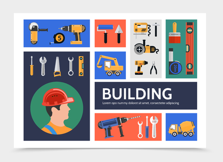 Flat building construction infographic template with builder grinder screwdriver paintbrush roller pliers wrench drill level saw roulette excavator concrete mixer truck vector illustration Illustration