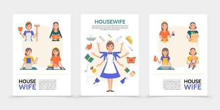 Flat housewife posters with super mom and women doing different household activities and affairs isolated vector illustration