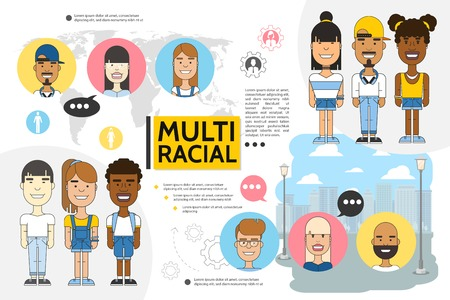 Flat multiracial people set with cityscape world map young boys and girls of different ethnicities vector illustration