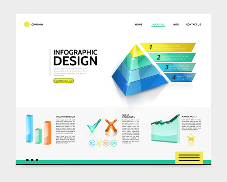 Realistic infographic landing page concept with business pyramid four options bars graph tick and check marks elements vector illustration