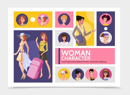 Flat woman characters avatars infographic template with traveling girls sportswomen businesswomen secretary pretty ladies wearing evening dress and casual clothes vector illustration