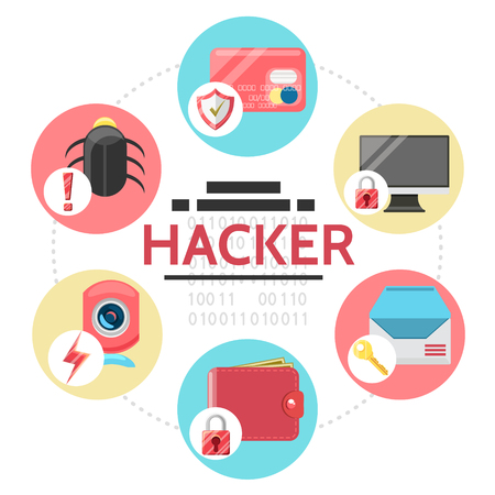 Flat hacker activity round concept with bug payment card computer email online wallet camera hacking isolated vector illustration