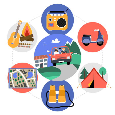 Flat weekend recreation concept with traveling by car guitar bonfire radio scooter camp binoculars map in colorful circles isolated vector illustration