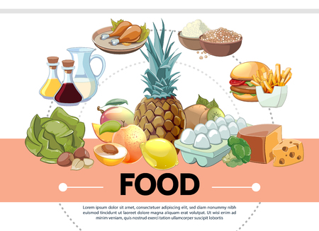 Cartoon food template with pineapple cabbage milk juice chicken legs cereals burger french fries eggs cheese lemon peach kiwi apricot vector illustration