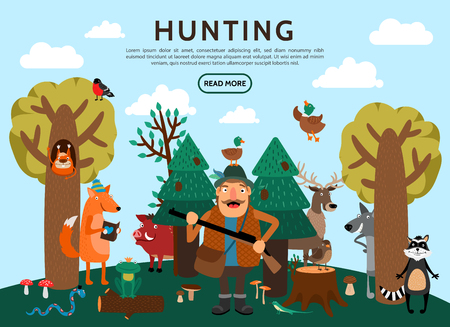 Flat hunting concept with hunter holding gun fox frog wolf wild boar birds elk snake raccoon squirrel in forest vector illustration Illustration