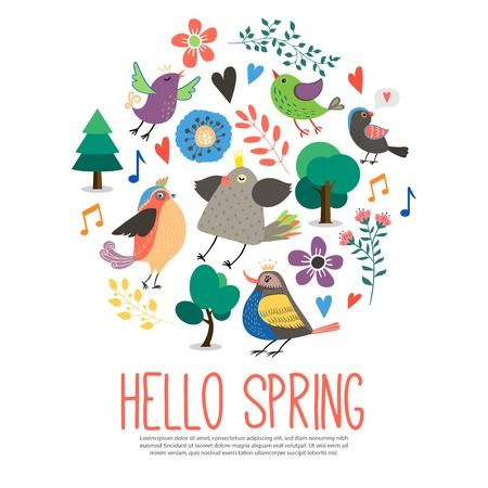 Flat hello spring round concept with beautiful colorful singing birds trees pretty flowers music notes isolated vector illustration