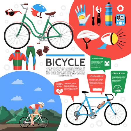 Flat colorful bicycle poster with bike bell sportswear gloves biker helmet bottle wrench screwdriver speedometer glasses vector illustration