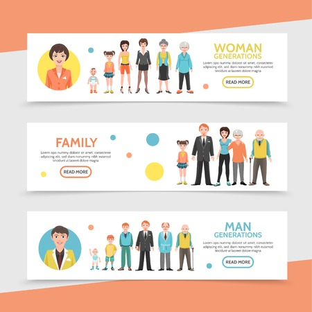 Flat people generation horizontal banners with happy family man and woman life cycle from baby to old age vector illustration