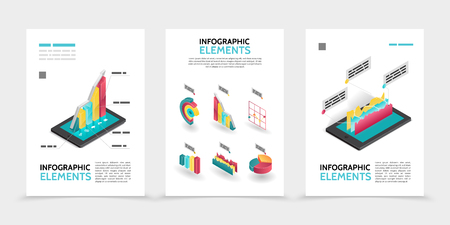 Isometric business infographic posters with 3d colorful diagrams charts graphs on tablet screens isolated vector illustration Illustration