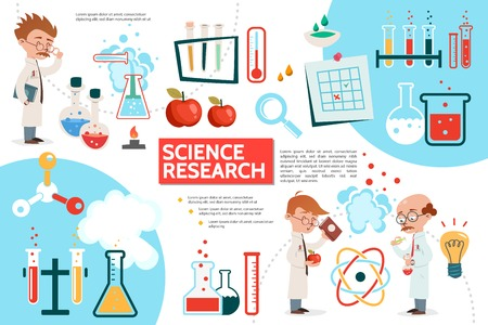 Flat science infographic template with scientific research apples laboratory experiments tubes flasks bulb note magnifier scientists thermometer atom molecular structures vector illustration