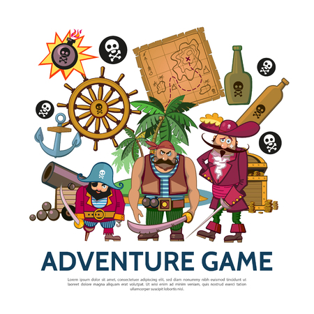 Flat colorful adventure game concept with pirates map bottles anchor cannon treasure chest tropical island steering wheel bomb coins vector illustration