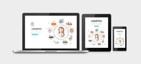 Flat delivery service adaptive design concept with different steps of logistic process on tablet phone laptop screens vector illustration