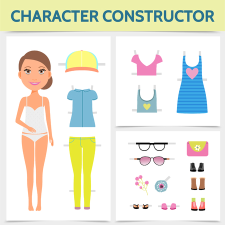 Flat woman character constructor concept with young attractive girl summer clothing footwear sunglasses lady handbag brooch isolated vector illustration