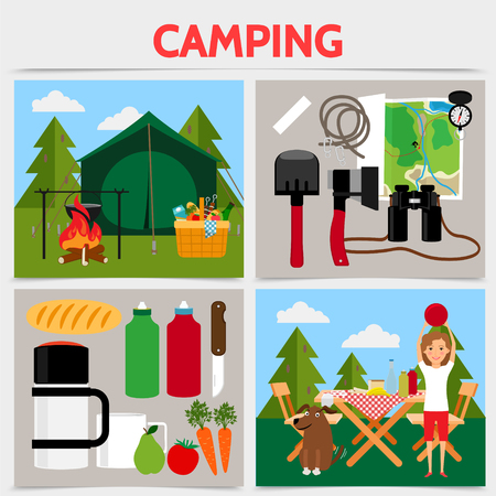 Flat camping square concept with tent bonfire camper dog table chairs shovel axe map compass binoculars products for picnic vector illustration