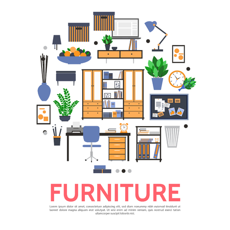 Flat furniture elements round concept with cupboard table chair printer plants lamp plate of fruits clock trash desk document folders isolated vector illustration