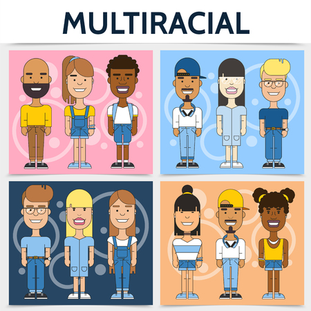Flat multiracial families square concept with multiethnic and multicultural people on colorful backgrounds vector illustration