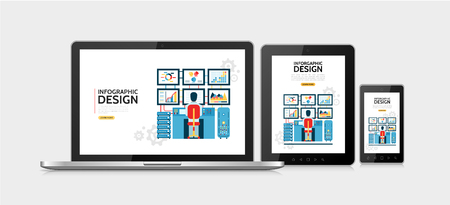 Flat infographic design concept with man working on computer with six monitors showing diagrams charts adaptive for laptop tablet mobile screens isolated vector illustration