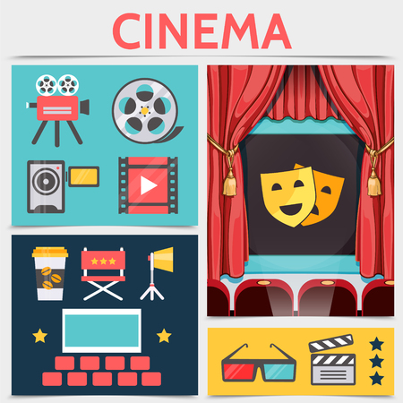 Flat cinematography icons composition with movie camera film reel filmstrip coffee director chair projector cinema hall eyeglasses clapboard theater masks on screen vector illustration Illustration