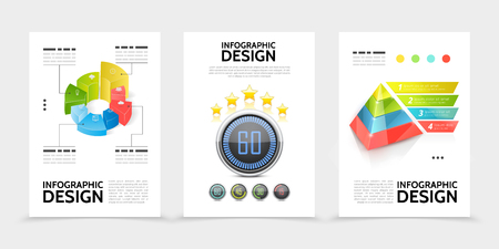Realistic infographic elements posters with colorful charts business icons pyramid ribbon banners progress indicators isolated vector illustration