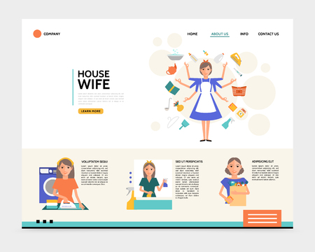 Flat housewife landing page concept with super mom ironing cleaning shopping washing household affairs vector illustration Illustration