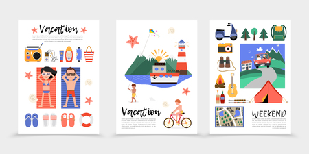 Flat summer vacation posters with beach rest slippers lifebuoy radio suncream cruise ship voyage camping scooter camera backpack guitar binoculars map tent vector illustration