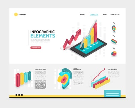 Isometric infographic landing page template with 3d diagrams charts and graphs for business analytics and presentation vector illustration