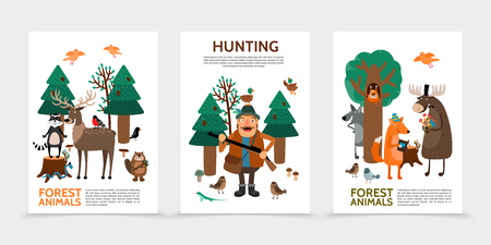 Flat hunting posters with hunter raccoon on stump deer beaver birds squirrel wolf snake fox reading book elk holding flowers vector illustration