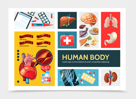 Cartoon healthcare infographic concept with liver kidneys stomach lungs heart clipboard pills syringe thermometer medical box food hand x-ray vector illustration