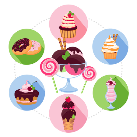 Cartoon sweet products concept with donuts muffins ice cream sundae cake lollipops in colorful circles isolated vector illustration Illustration