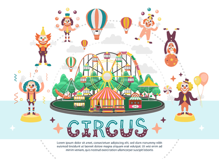 Flat circus carnival round composition with amusement park attractions funny clowns juggling balls and performing acrobatic tricks vector illustration