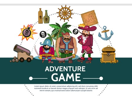 Cartoon adventure game UI elements composition with cannon bomb pirates bottles ship steering wheel map anchor treasure chest island vector illustration