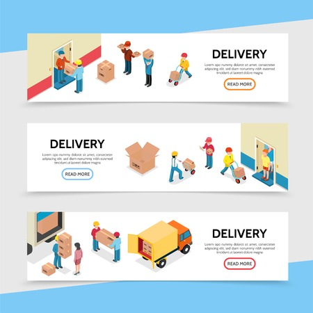 Flat delivery service horizontal banners with couriers deliver goods to customers vector illustration