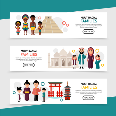 Flat multiracial people horizontal banners with african saudi arabian chinese families and national sights vector illustration Illustration