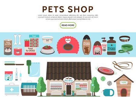 Flat pets shop elements collection with cat and dog food shampoo leash collar carrier doghouse toys brush syringe thermometer store building isolated vector illustration Illustration