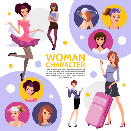 Flat woman characters composition with secretary student sportswoman businesswoman elegant fashionable lady young girl in casual clothes vector illustration