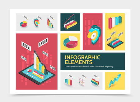 Isometric abstract infographic concept with colorful business diagrams graphs 3d bars and charts vector illustration Illustration