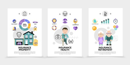 Flat insurance service brochures with estate disabled pensioners property health retirement assurance colorful icons isolated vector illustration Illustration