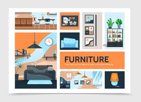 Modello di infografica interni casa piatta con immagini di mobili lampada armadio tavolo sedie piante orologio moderno muro di mattoni illustrazione vettoriale Vettoriali