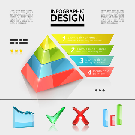 Colorful business infographic elements concept with marketing pyramid graph bars and check marks in realistic style vector illustration