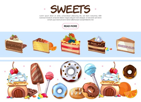 Cartoon sweet products collection with ice cream donuts lollipops chocolate bars candies and cakes with different ingredients isolated vector illustration